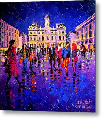 Lights And Colors In Terreaux Square Metal Print by Mona Edulesco
