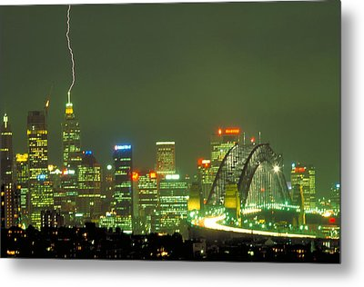 Lihtning On Sydney Metal Print by Sandro Rossi