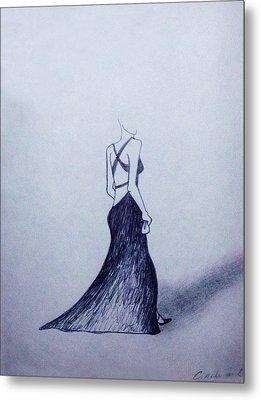 Lil' Black Dress Metal Print by Cynthia Hilliard