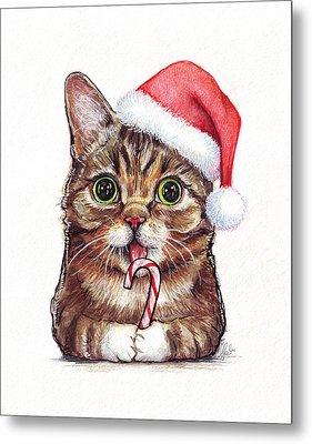 Lil Bub Cat In Santa Hat Metal Print by Olga Shvartsur