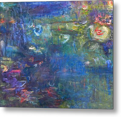 Lily And Koi Pond Metal Print by  Tolere