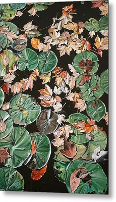 Lily Pads And Leaves Metal Print by Anthony Mezza