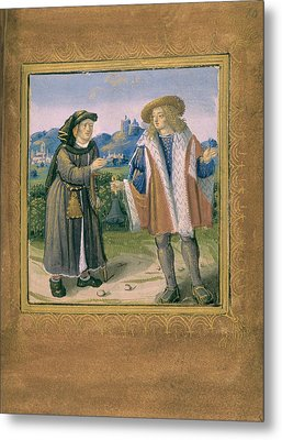 Limping In Front Of A Lame Person Metal Print by British Library