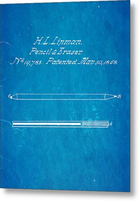 Linman Pencil And Eraser Patent Art 1858 Blueprint Metal Print by Ian Monk