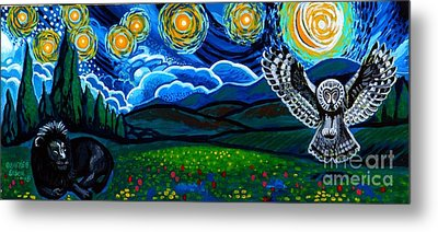 Lion And Owl On A Starry Night Metal Print by Genevieve Esson