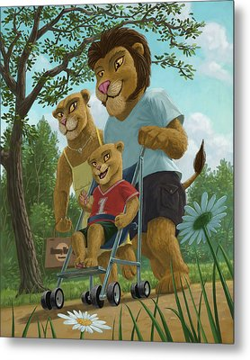Lion Family In Park Metal Print by Martin Davey