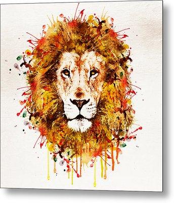 Lion Head Watercolor Metal Print by Marian Voicu