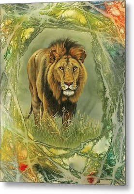 Lion In Abstract Metal Print by Paul Krapf