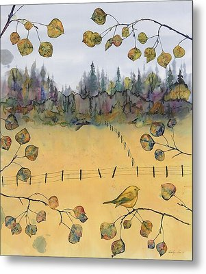 Little Bird And Fence Metal Print by Carolyn Doe