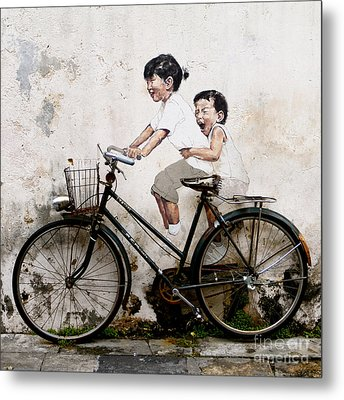 Little Children On A Bicycle Metal Print by Donald Chen