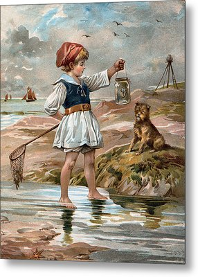 Little Girl At The Beach Metal Print by Unknown