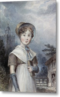 Little Girl In A Quaker Costume Metal Print by Isaac Pocock