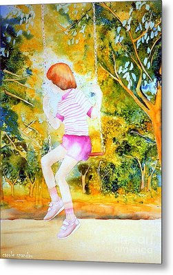 Little Girl On The Park Swing Westmount Quebec City Scene Montreal Art Metal Print by Carole Spandau