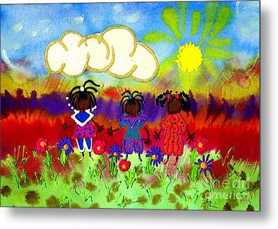 Little Girlfriends Metal Print by Angela L Walker