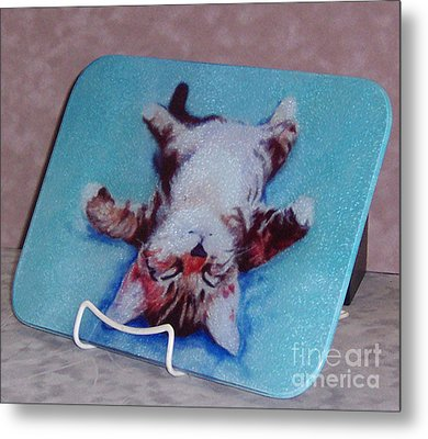 Little Napper Cutting And Serving Board Metal Print by Pat Saunders-White