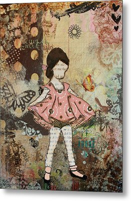 Little One Mixed Media Folk Art Of Whimsical Little Girl Metal Print by Janelle Nichol