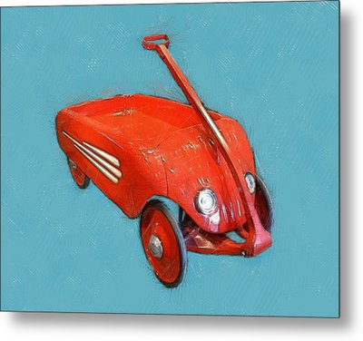 Little Red Wagon Metal Print by Michelle Calkins