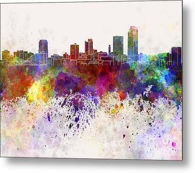 Little Rock Skyline In Watercolor Background Metal Print by Pablo Romero