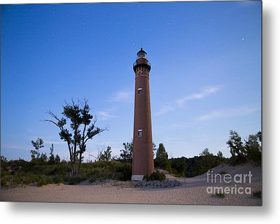 Little Sable Lighthouse By Moonlight Metal Print by Twenty Two North Photography