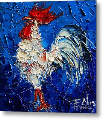 Little White Rooster Metal Print by Mona Edulesco