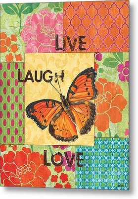 Live Laugh Love Patch Metal Print by Debbie DeWitt