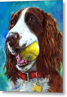 Liver English Springer Spaniel With Tennis Ball Metal Print by Dottie Dracos