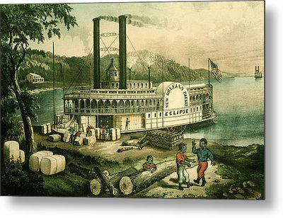 Loading Cotton On The Mississippi, 1870 Colour Litho Metal Print by N. Currier
