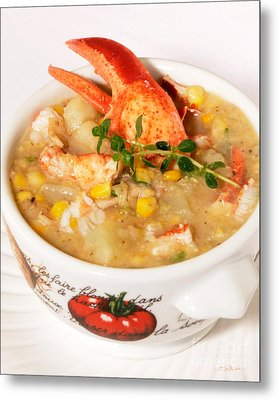 Lobster Chowder With Corn And Poblano Peppers Metal Print by Iris Richardson