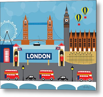 London England Skyline By Loose Petals Metal Print by Karen Young