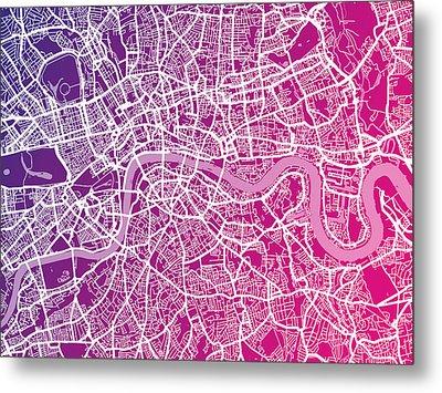London Map Red Metal Print by Michael Tompsett