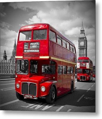 London Red Buses On Westminster Bridge Metal Print by Melanie Viola