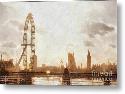 London Skyline At Dusk 01 Metal Print by Pixel  Chimp