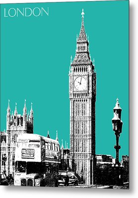 London Skyline Big Ben - Teal Metal Print by DB Artist