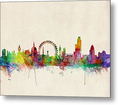 London Skyline Watercolour Metal Print by Michael Tompsett