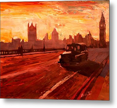 London Taxi Big Ben Sunset With Parliament Metal Print by M Bleichner
