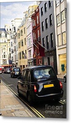 London Taxi On Shopping Street Metal Print by Elena Elisseeva