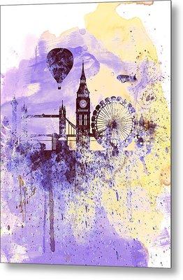 London Watercolor Skyline Metal Print by Naxart Studio