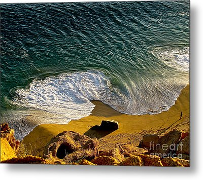 Lone Hiker At Sunset On Secluded Beach At Cabo San Lucas Metal Print by Sean Griffin
