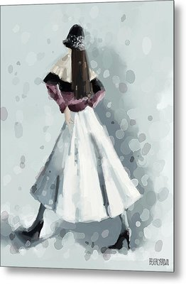 Long White Skirt And Black Sequined Hat Fashion Illustration Art Print Metal Print by Beverly Brown Prints