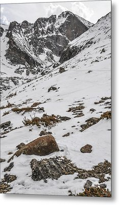 Longs Peak -  Vertical Metal Print by Aaron Spong