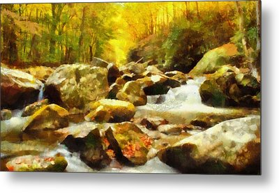 Looking Down Little River In Autumn Metal Print by Dan Sproul