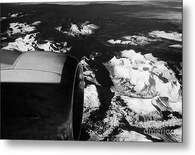 Looking Out Of Aircraft Window Past Engine And Over Snow Covered Fjords And Coastline Of Norway Euro Metal Print by Joe Fox