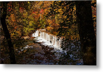 Looking Through Autumn Trees On To Waterfalls Fine Art Prints As Gift For The Holidays  Metal Print by Jerry Cowart