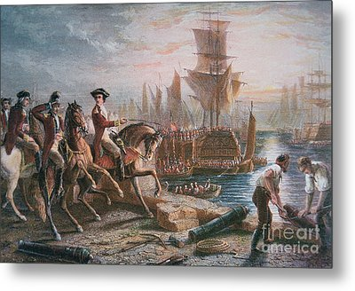 Lord Howe Organizes The British Evacuation Of Boston In March 1776 Metal Print by English School