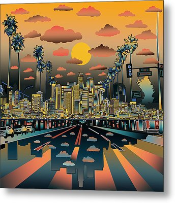 Los Angeles Skyline Abstract 2 Metal Print by Bekim Art