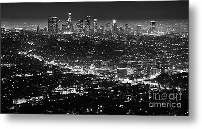Los Angeles Skyline At Night Monochrome Metal Print by Bob Christopher