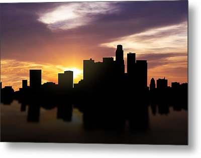Los Angeles Sunset Skyline  Metal Print by Aged Pixel