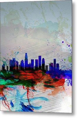 Los Angeles  Watercolor Skyline 1 Metal Print by Naxart Studio