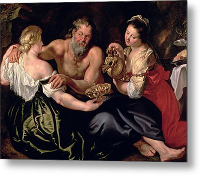 Lot And His Daughters Metal Print by Rubens