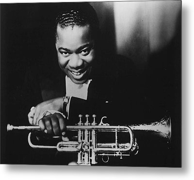 Louis Armstrong Holding Trumpet Metal Print by Retro Images Archive